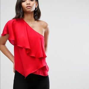 ASOS  NWT one shoulder red draped top Sz 6